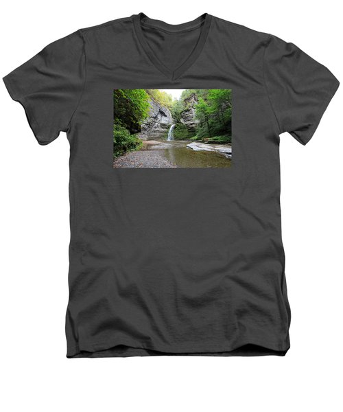 Men's V-Neck T-Shirt featuring the photograph Beautiful Eagle Cliff Falls  by Trina  Ansel