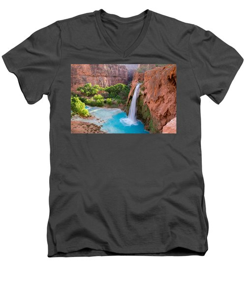 Havasu Falls, Arizona 2 Men's V-Neck T-Shirt by Serge Skiba