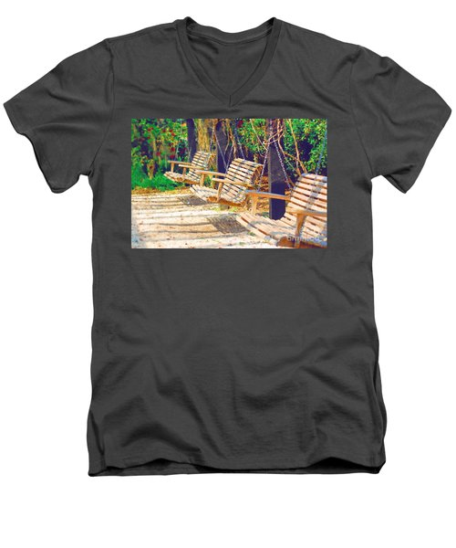 Men's V-Neck T-Shirt featuring the photograph Have A Seat Relax by Donna Bentley