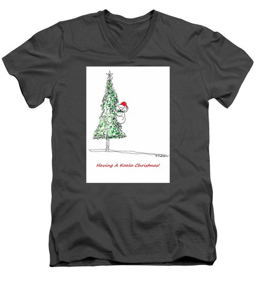 Having A Koala Christmas Men's V-Neck T-Shirt by Denise Fulmer