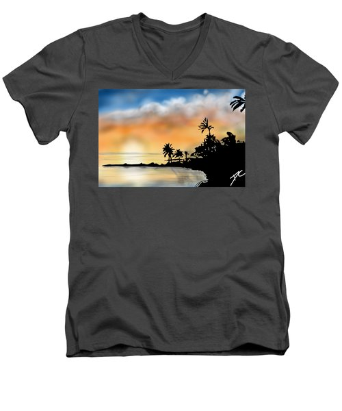 Hawaii Beach Men's V-Neck T-Shirt by Darren Cannell