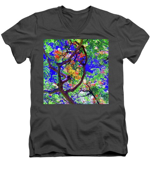 Hawaii Shower Tree Flowers In Abstract Men's V-Neck T-Shirt
