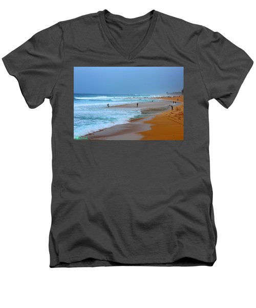 Hawaii - Sunset Beach Men's V-Neck T-Shirt by Michael Rucker