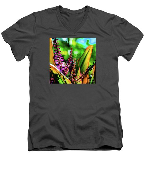 Hawaii Ti Leaf Plant And Flowers Men's V-Neck T-Shirt