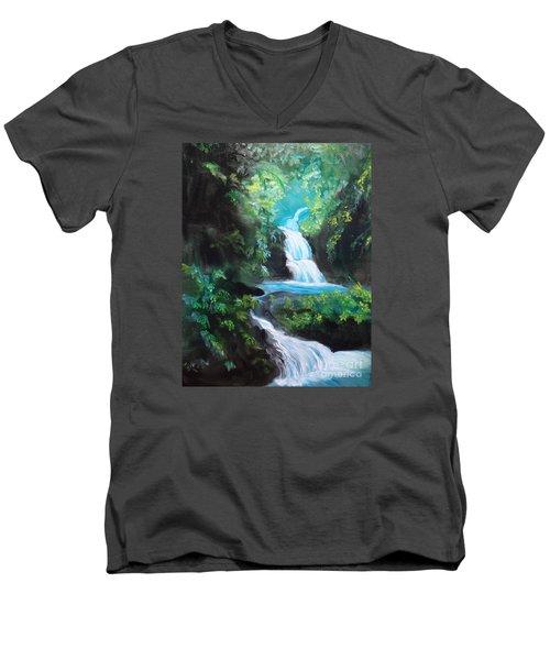 Hawaiian Waterfalls Men's V-Neck T-Shirt by Jenny Lee