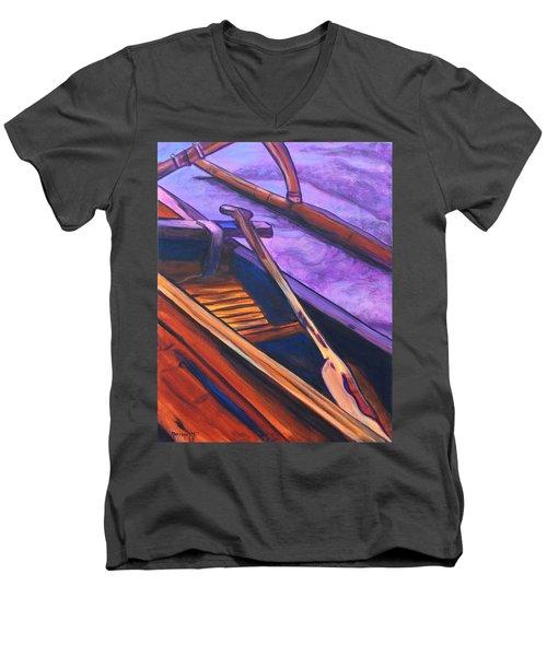 Hawaiian Canoe Men's V-Neck T-Shirt by Marionette Taboniar