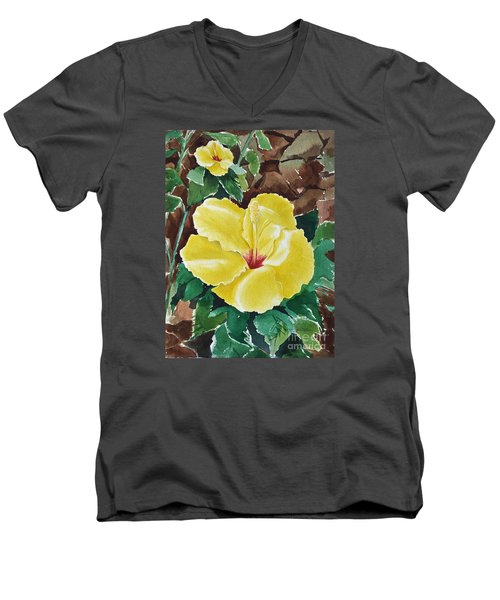 Men's V-Neck T-Shirt featuring the painting Hawaiian Hibiscus by Joan Hartenstein