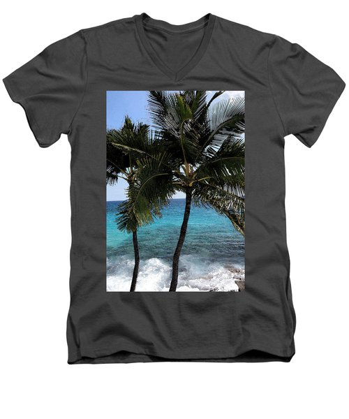 Men's V-Neck T-Shirt featuring the photograph Hawaiian Palm Trees - All Images Copyright Karen L. Nicholson by Karen Nicholson