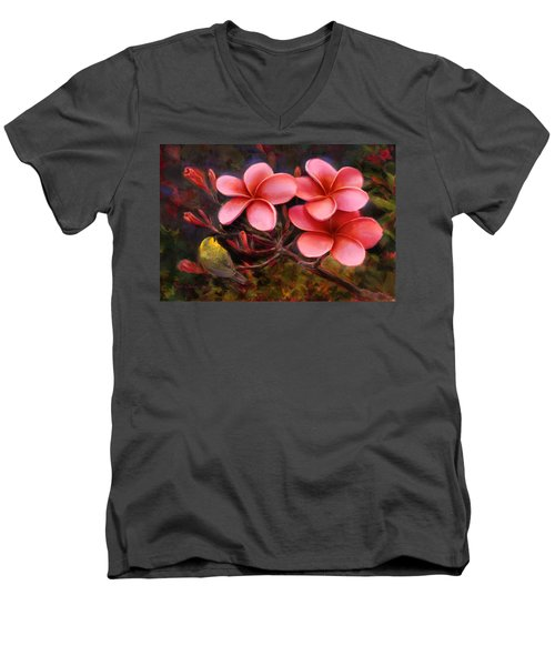 Men's V-Neck T-Shirt featuring the painting Hawaiian Pink Plumeria And Amakihi Bird by Karen Whitworth