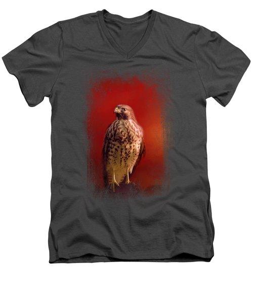 Hawk On A Hot Day Men's V-Neck T-Shirt by Jai Johnson