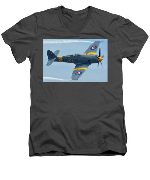 Men's V-Neck T-Shirt featuring the photograph Hawker Sea Fury T20 N924g Chino California April 30 2016 by Brian Lockett