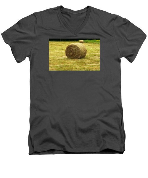 Men's V-Neck T-Shirt featuring the photograph Hay Bale  by Bruce Carpenter