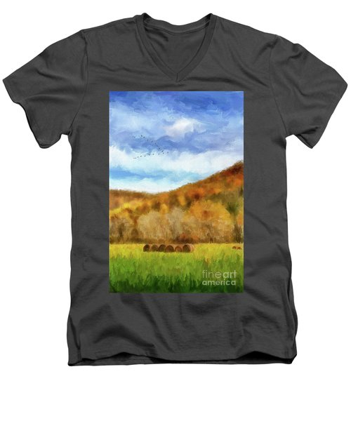 Men's V-Neck T-Shirt featuring the photograph Hay Bales by Lois Bryan