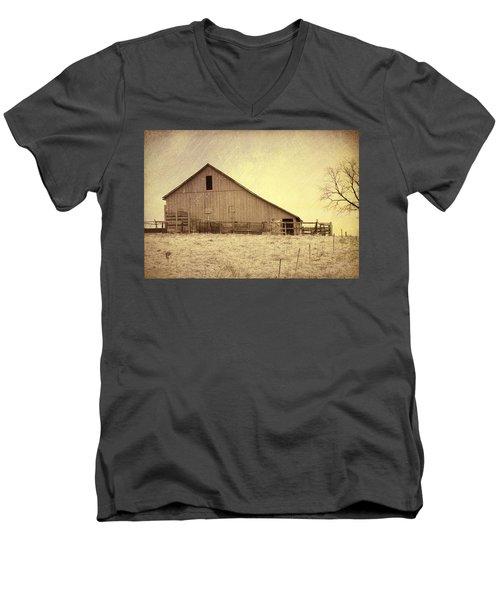 Men's V-Neck T-Shirt featuring the photograph Hay Barn by Susan Crossman Buscho
