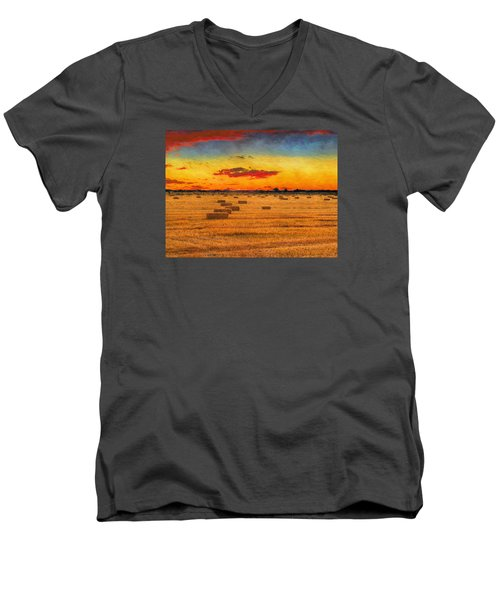 Hay Fields Men's V-Neck T-Shirt by Greg Norrell