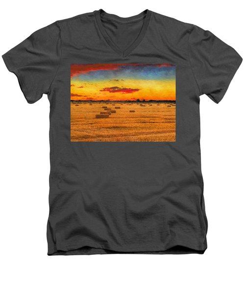 Hay Fields Men's V-Neck T-Shirt
