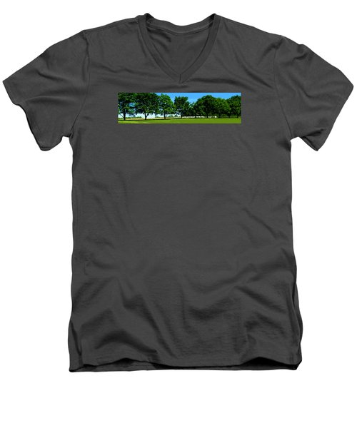 Men's V-Neck T-Shirt featuring the photograph Hay Harvest by Spyder Webb