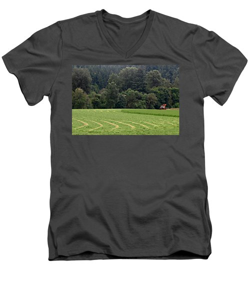 Men's V-Neck T-Shirt featuring the photograph Haying  by Katie Wing Vigil