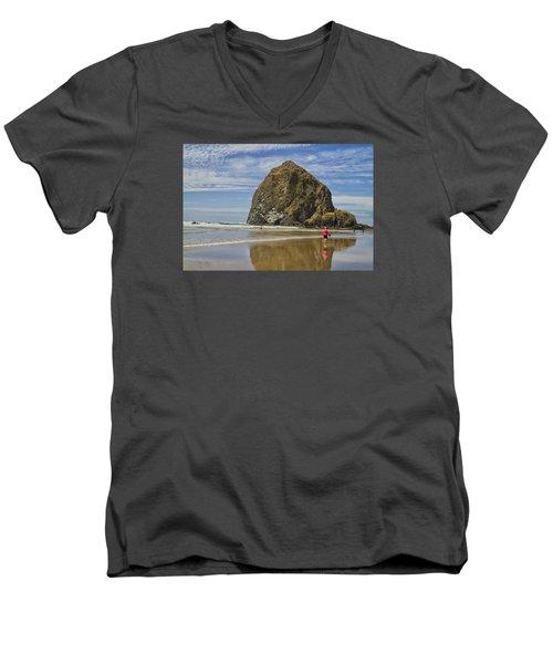Haystack Rock 0258 Men's V-Neck T-Shirt by Tom Kelly