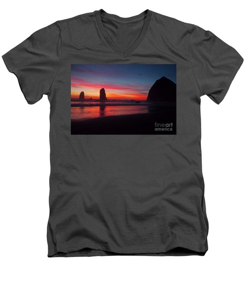 Haystack Rock At Sunset 2 Men's V-Neck T-Shirt