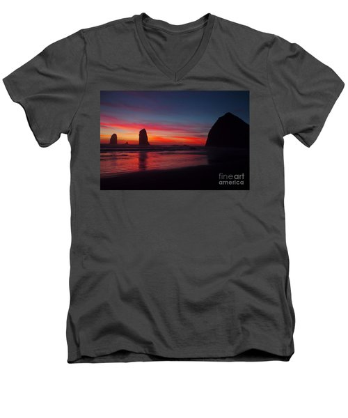 Haystack Rock At Sunset Men's V-Neck T-Shirt