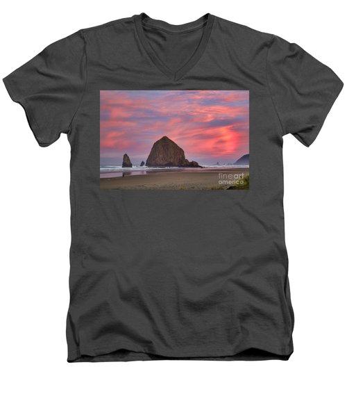 Haystack Rock- First Light Men's V-Neck T-Shirt