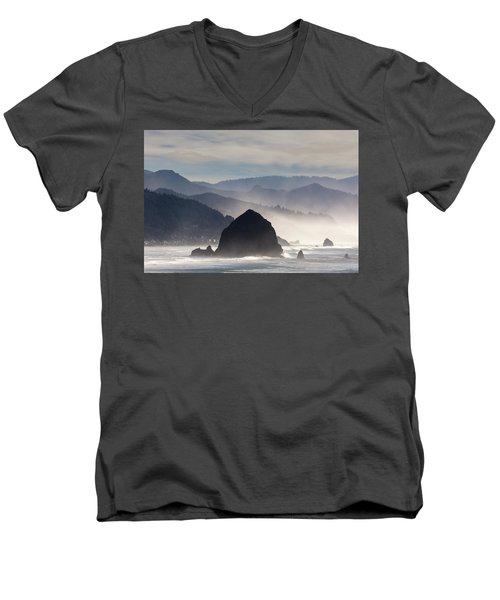 Haystack Rock On The Oregon Coast In Cannon Beach Men's V-Neck T-Shirt