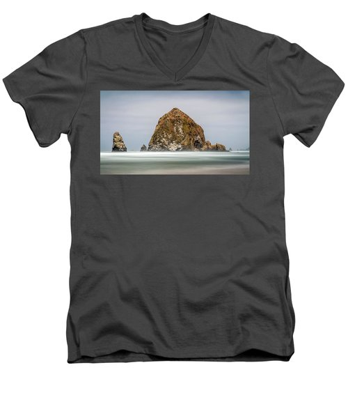 Men's V-Neck T-Shirt featuring the photograph Haystack Rock Oregon by Pierre Leclerc Photography