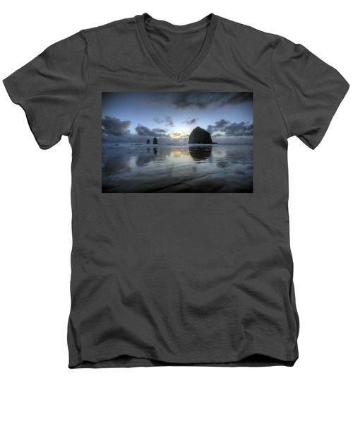 Haystacks At Sunset Men's V-Neck T-Shirt
