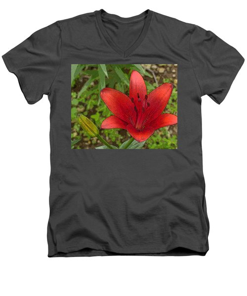 Men's V-Neck T-Shirt featuring the digital art Hazelle's Red Lily by Jana Russon