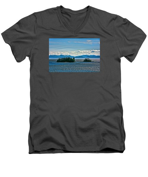 Men's V-Neck T-Shirt featuring the photograph Hazy Alaskan Morning by Lewis Mann