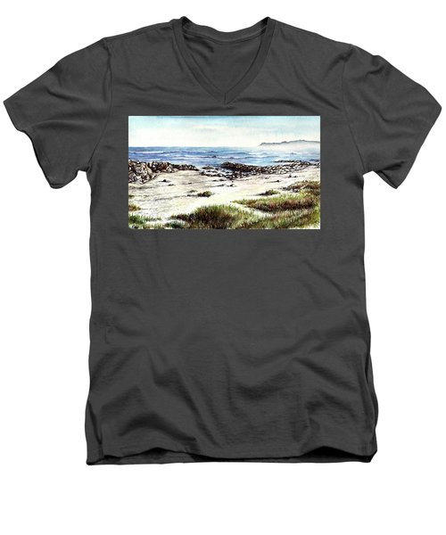 Men's V-Neck T-Shirt featuring the painting Hazy Coastline by Heidi Kriel