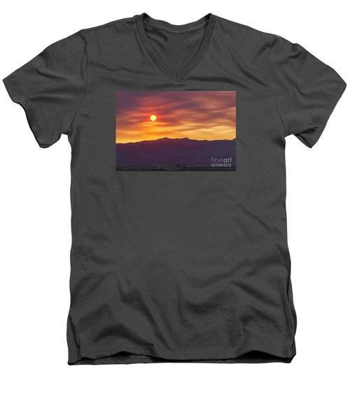 Men's V-Neck T-Shirt featuring the photograph Hazy Las Vegas Sunset by Aloha Art