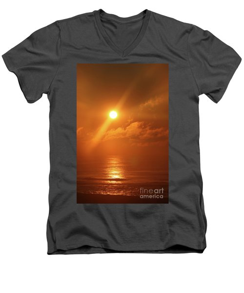 Hazy Orange Sunrise On The Jersey Shore Men's V-Neck T-Shirt