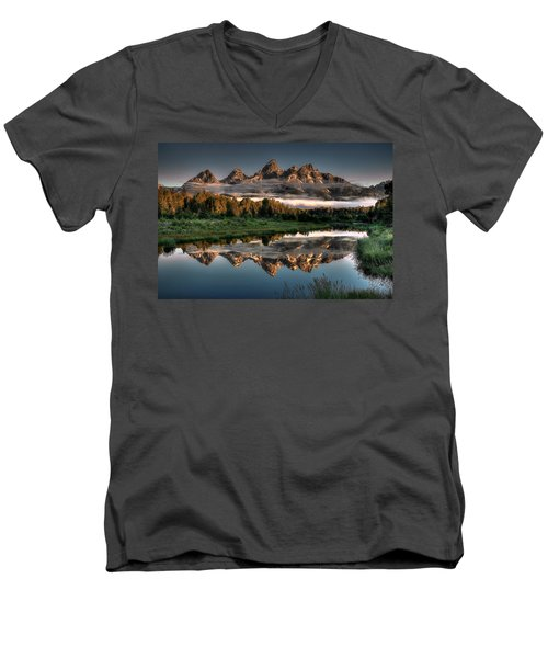 Hazy Reflections At Scwabacher Landing Men's V-Neck T-Shirt by Ryan Smith