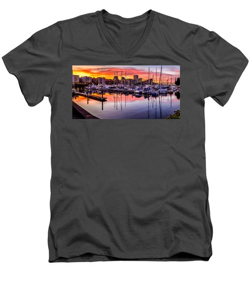 Hdr Sunset On Thea Foss Waterway Men's V-Neck T-Shirt