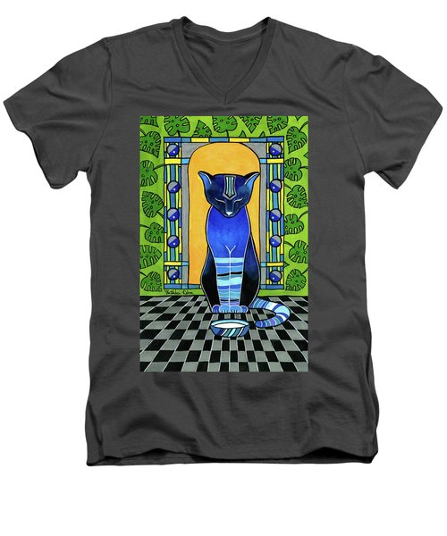 Men's V-Neck T-Shirt featuring the painting He Is Back - Blue Cat Art by Dora Hathazi Mendes