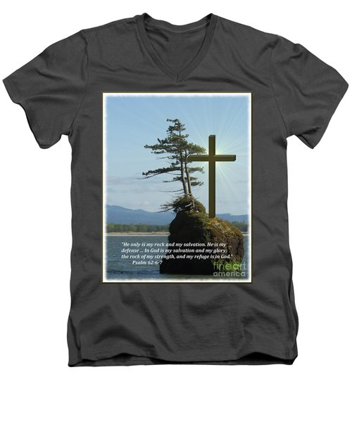 He Is My Rock And My Salvation Men's V-Neck T-Shirt
