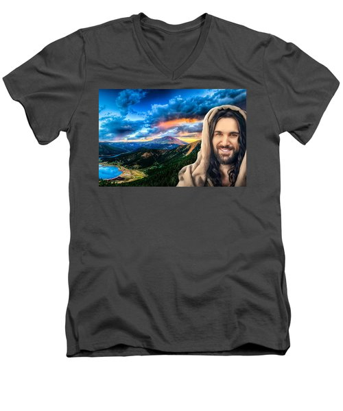 Men's V-Neck T-Shirt featuring the digital art He Watches Over Me by Karen Showell