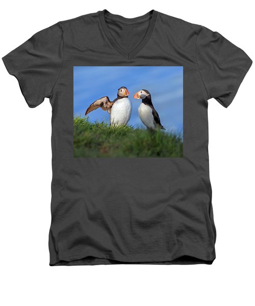 He Went That Way Men's V-Neck T-Shirt by Betsy Knapp