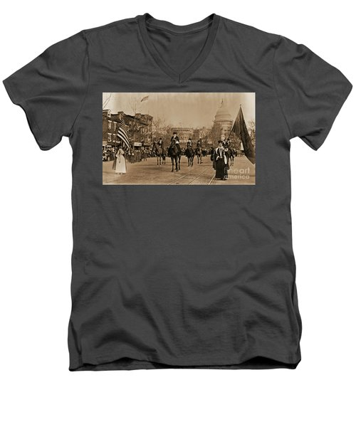 Head Of Washington D.c. Suffrage Parade Men's V-Neck T-Shirt