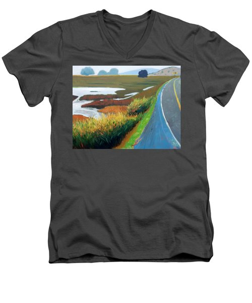 Men's V-Neck T-Shirt featuring the painting Heading North by Gary Coleman