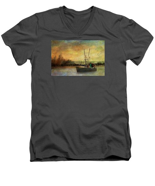 Men's V-Neck T-Shirt featuring the photograph Heading Out by John Rivera