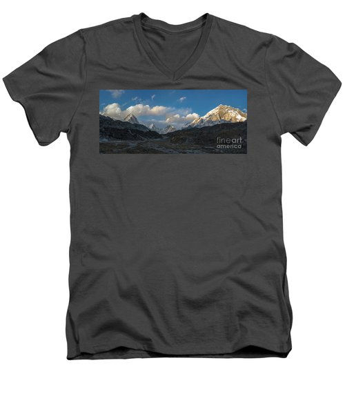 Men's V-Neck T-Shirt featuring the photograph Heading To Everest Base Camp by Mike Reid