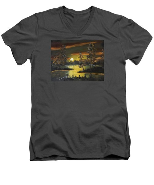 Headwaters Sunset 160115 Men's V-Neck T-Shirt by Jack G Brauer
