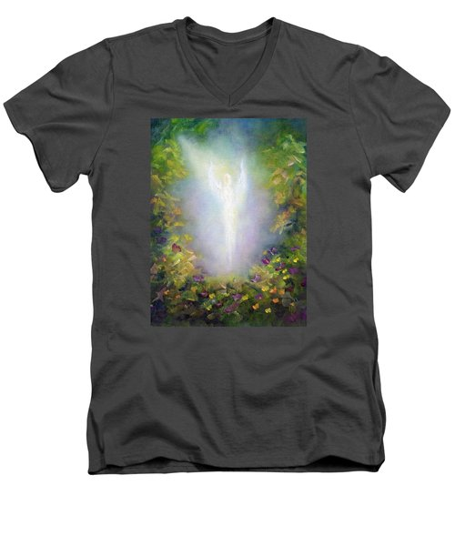 Men's V-Neck T-Shirt featuring the painting Healing Angel by Marina Petro