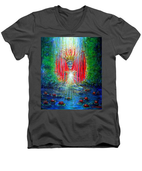 Men's V-Neck T-Shirt featuring the painting Healing Waters by Heather Calderon