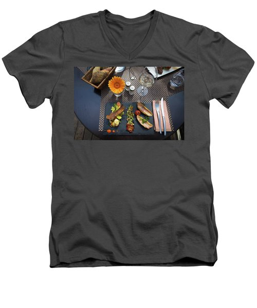 Men's V-Neck T-Shirt featuring the photograph Health Fish Dish Served At A French Restaurant by Semmick Photo