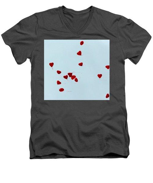 Heart Balloons In The Sky Men's V-Neck T-Shirt by Valerie Ornstein