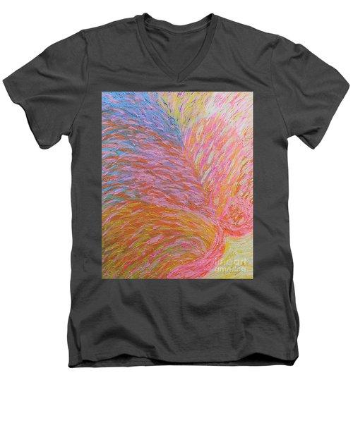 Heart Burst Men's V-Neck T-Shirt by Rachel Hannah